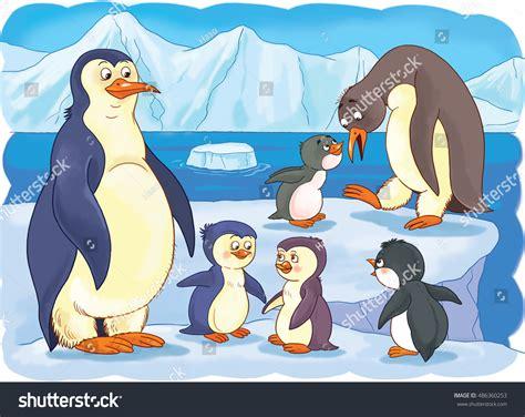Zoo Arctic Animals Family Cute Penguins Stock Illustration