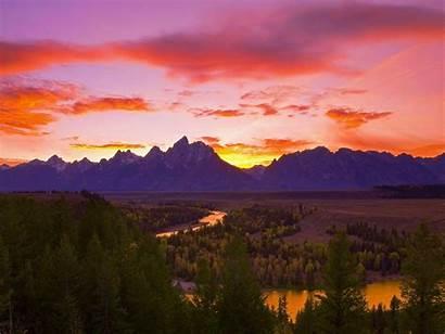 Teton Grand Park National River Snake Sunset