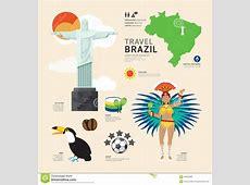 Travel Concept Brazil Landmark Flat Icons DesignVector