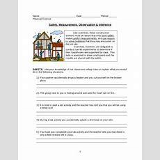 Safety, Measurement, Observation & Inference Worksheet By Lesson Universe