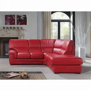 napoli canape d39angle droit en cuir rouge aucune pickture With canape cuir angle rouge