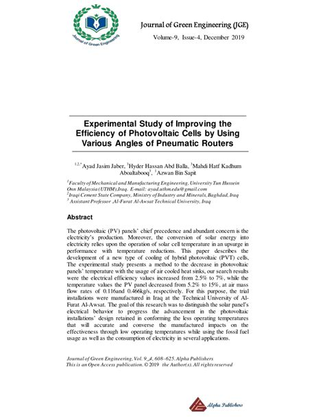 (PDF) Experimental Study of Improving the Efficiency of