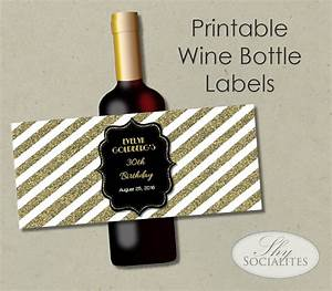 Black gold glitter printable wine label hostess gift for How to print wine bottle labels
