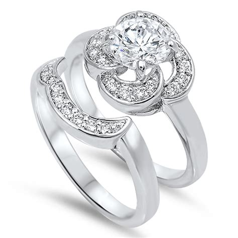 sterling silver flower cz engagement ring wedding band