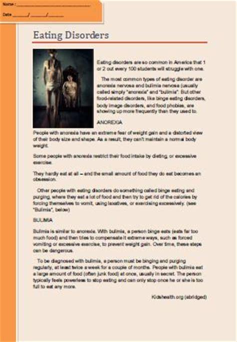 eating disorders reading comprehension worksheet