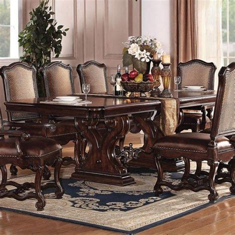 acme furniture nostalgia casual pedestal acme vendome 11pc pedestal dining room set in