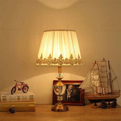 luxury bedroom lighting modern luxury crystal table lamp fabric lampshade living 12169   Modern Luxury Crystal Table Lamp Fabric Lampshade Living Room Bedroom Bedside Light Home Lighting Antique Brass