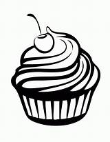 Cupcake Coloring Cupcakes Printable Drawing Clipart Comments Cartoon sketch template