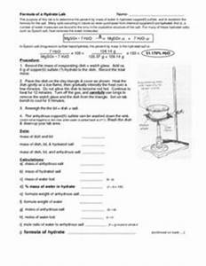 Formula of a Hydrate Lab Worksheet for 10th - 12th Grade ...
