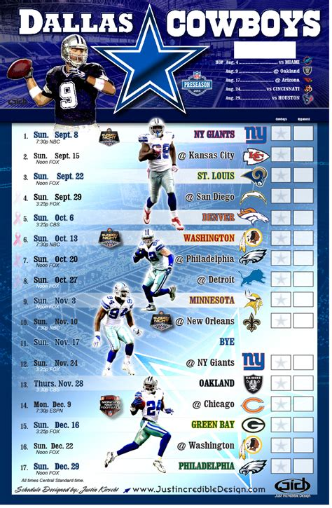 dallas cowboys schedule  printable  dallas