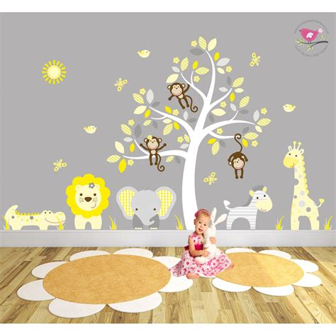 stickers repositionnables chambre bébé safari fabric nursery wall stickers
