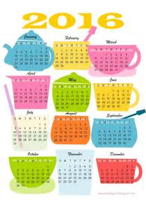 2016 Calendar Printable Free Kitchen