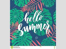 Hello Summer Card With Tropical Leaf Seamless Pattern