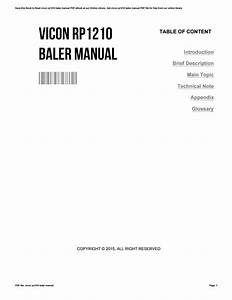 Vicon Rp1210 Baler Manual By Mdhc85