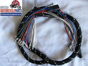 54960712 Bsa A75 Rocket 3 Cloth Braided Headlight Wiring Loom Harness 1971