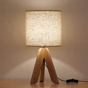 Haitral, Small, Bedside, Table, Lamp, Wooden, Tripod, Nightstand, Lamp, With, Fabric, Linen, Shade