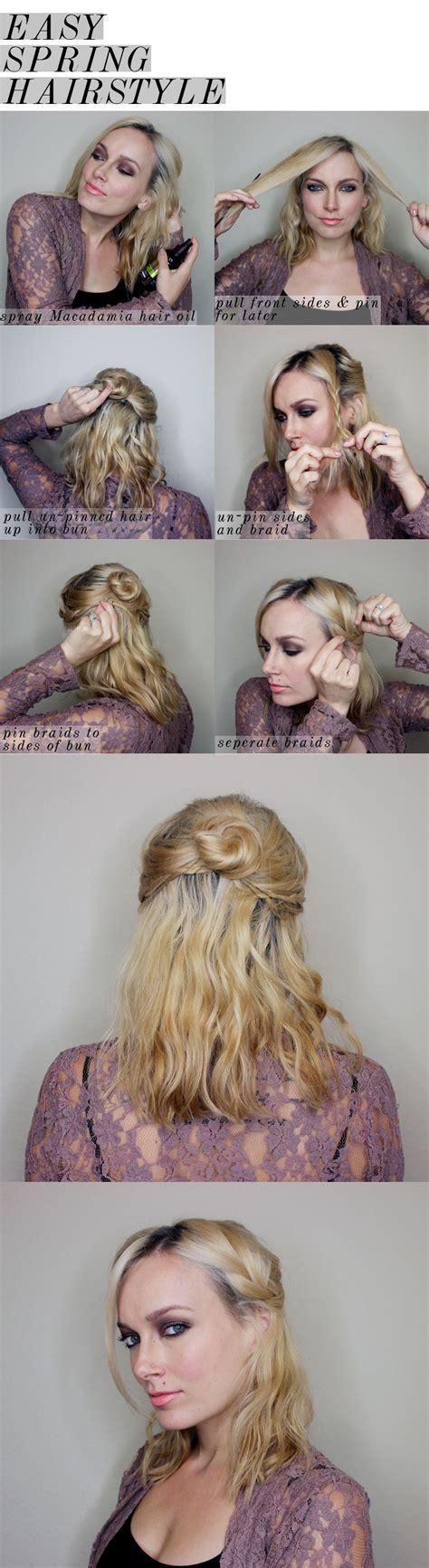 easy spring half updo for medium length hair half updo
