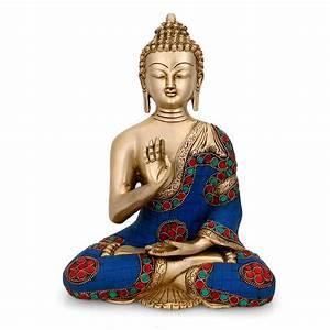 Abhaya Buddha Statue Brass Tibetan Turquoise Blue Medicine
