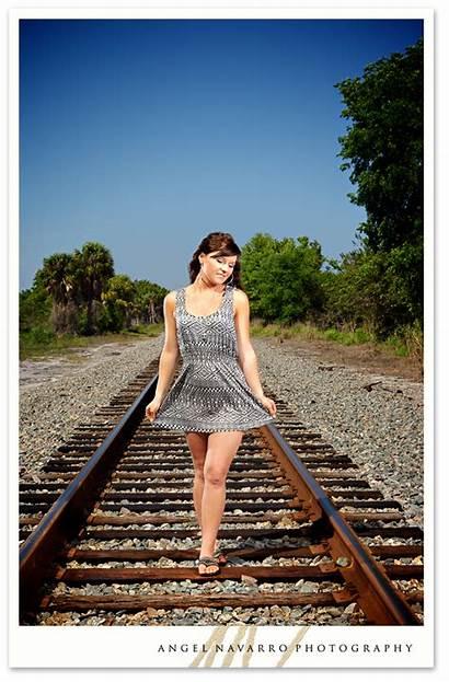 Senior Outdoor Railroad Shoot Bradenton Tracks Portrait
