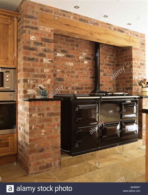 country kitchen wall black aga oven in exposed brick wall in country 6747