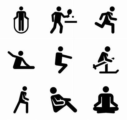Fitness Exercise Human Icons Pictograms Solid Transparent