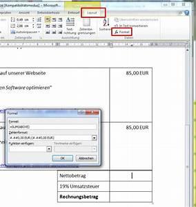 Excel Umsatzsteuer Berechnen : word rechnungen in tabellen rechnen und in rechnungen ~ Themetempest.com Abrechnung