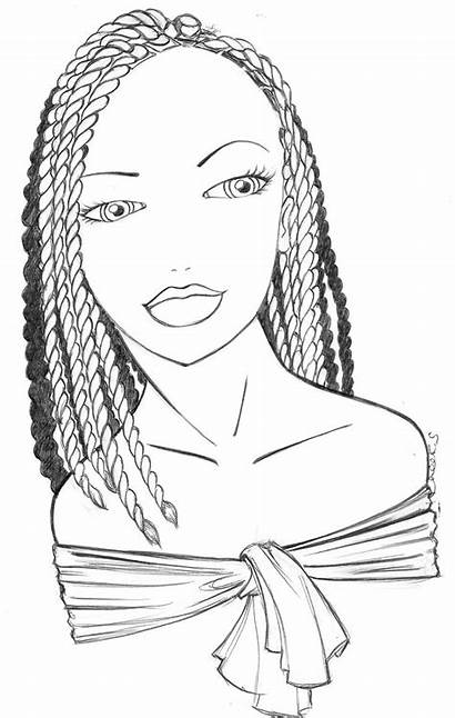 Coloring Pages Braids Cartoon Colouring Hair Classic