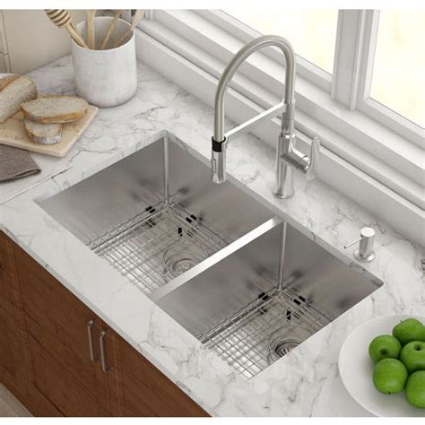 undermount ss kitchen sinks kraus undermount 60 40 bowl 16 stainless 6602
