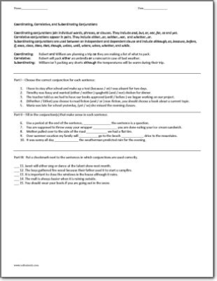 coordinating correlative and subordinating conjunctions worksheet