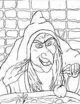 Witch Coloring Printable Scary sketch template