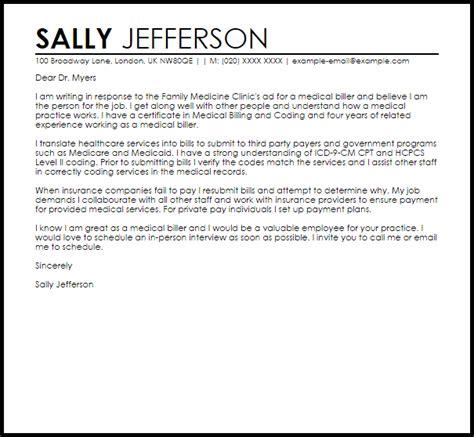Resume Cover Letter Sles For Billing And Coding by Sle Cover Letter For A Biller Livecareer