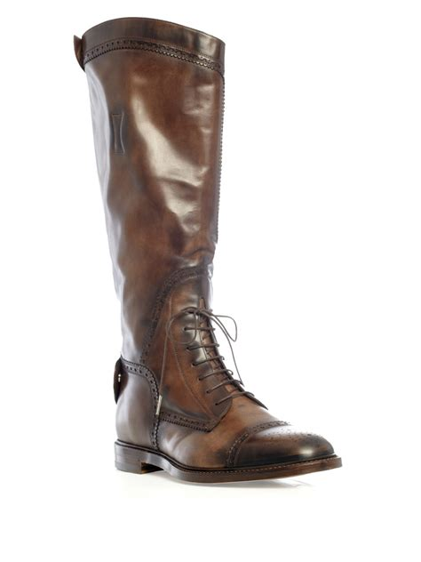 gucci brogue riding boots  brown  men lyst