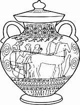 Ancient Coloring Greece Greek Vase Antiga Amphora Vasos Clip Pintar Gregos Grega Arte Pottery Colorir Template Zsa History Desenhos Classico sketch template