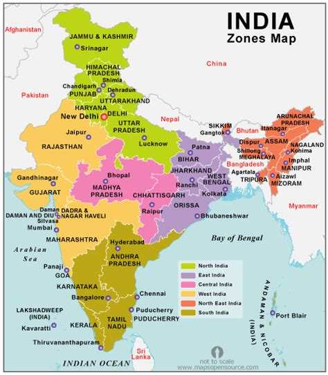 Free India Zones Map Map Of India Zones States Open
