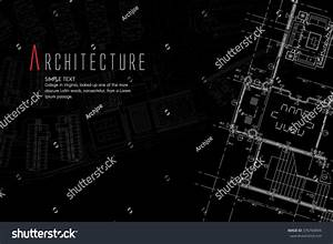 Blueprint Cad Architectural Plan Drawing White Stock