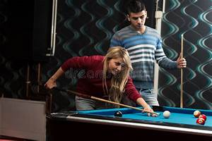 Couple Playing Billiard stock photo. Image of ideas, hall ...