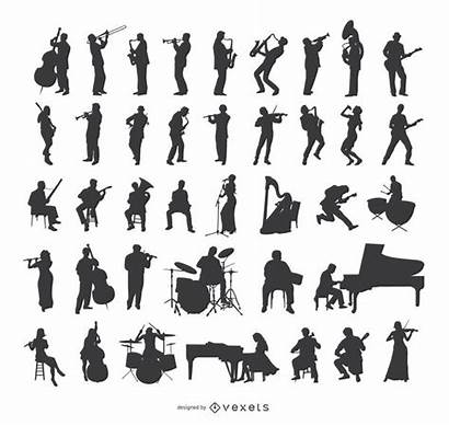 Silhouette Silhouettes Musician Jazz Playing Instruments Musicians