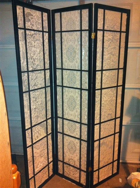 repurposed japanese screen room divider and lace