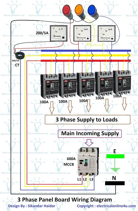 phase panel board wiring diagram distribution board