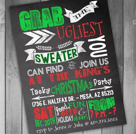 christmas party invitation ugly christmas sweater party