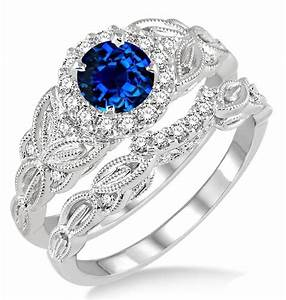 125 carat sapphire and diamond vintage floral bridal set for Sapphire engagement ring and wedding band set
