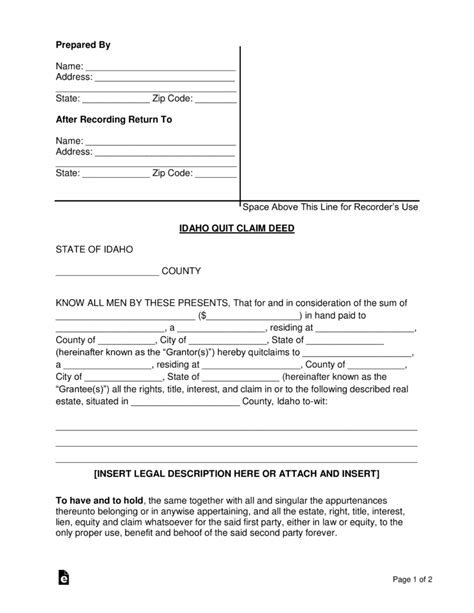 ct id application form free idaho quit claim deed form word pdf eforms
