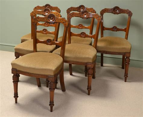 Stunning Set Of Six Victorian Walnut Antique Dining Chairs