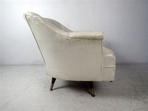 mid century modern white vinyl lounge chair for sale at