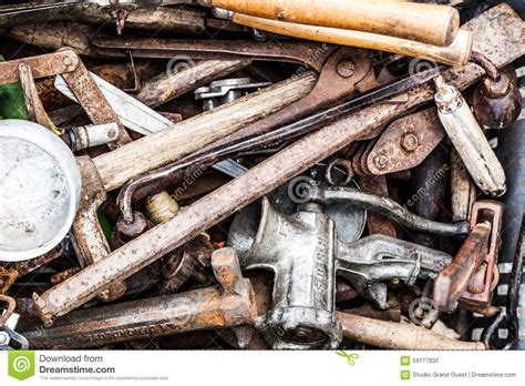 Bulk Of Rusty Second Hand Tools At Garage Sale Stock Photo