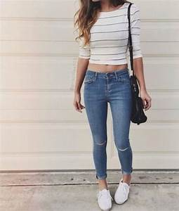 T-shirt jeans shirt tumblr outfit tumblr school outfit edgy striped top - Wheretoget