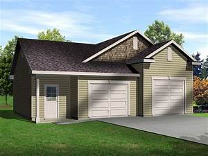 Two Car Garage With One Bay Tall Enough For An Auto Lift  This Auto Lift Garage Plan Also Has A