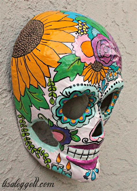 Floral Themed Dia Los Muertos Painted Paper Mache Skull