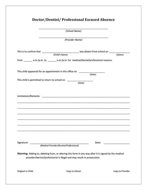 dr excuse template 42 doctor s note templates for school work printable templates