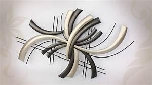 Décoration Murale En Métal Design : d co murale moderne de style abstrait en m tal noir et argent ~ Teatrodelosmanantiales.com Idées de Décoration